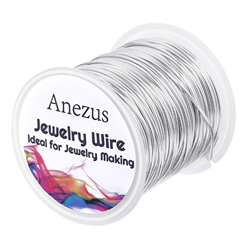 Jewelry Craft Wire for Jewelry Making, Anezus Craft Wire 18 Gauge Tarnish Resistant Copper Beading Wire for Jewelry Making Supplies and Crafting (18 Gauge, Silver)