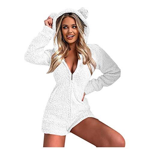 Zilosconcy Monos de Pijama de una Pieza para Mujer, Pijamas de Invierno con Cremallera de Manga Larga y Felpa, Mameluco Acogedor con Capucha esponjosa-1204