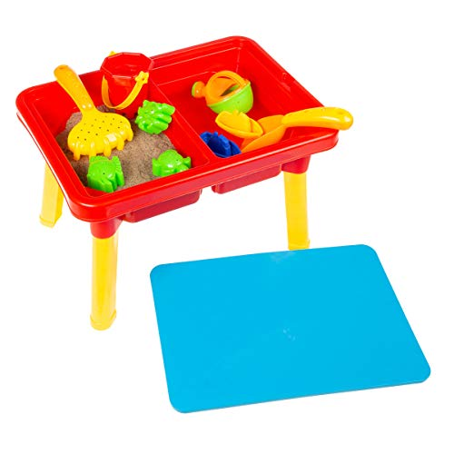 Hey Play 80TK036196 Water or Sand Sensory Table with Lid amp Toys  Portable Covered Activity Playset for The Beach Backyard or Classroom