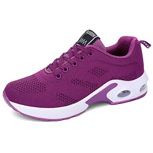 Lanchengjieneng Moda para Mujer Entrenador de Running de Aire Transpirable Jogging Fitness Sneakers Casual Walking Shoes Purple EU 37
