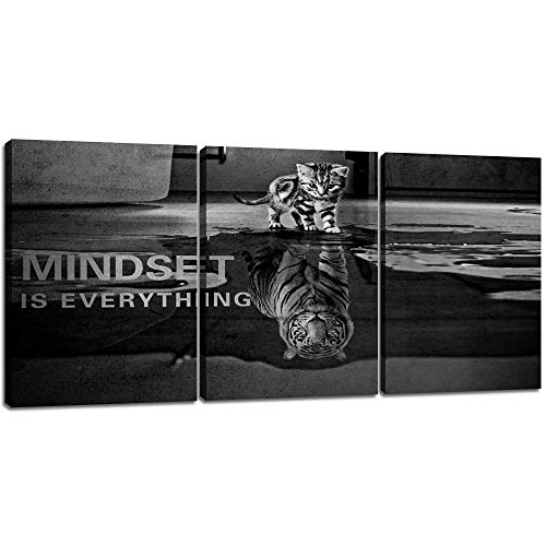 3 Panels Mindset is Everything Motivational Canvas Wall Art Inspirational Entrepreneur Quotes Poster Print