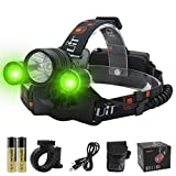 BORUIT LED Headlamp with Green Light - White & Green Rechargeable Hunting Headlight - Ultra Bright 6000 Lumen 3 LED Waterproof 3 Mode Head Lamp - Best Night Bike Headlamp for Running, Camping, Hiking