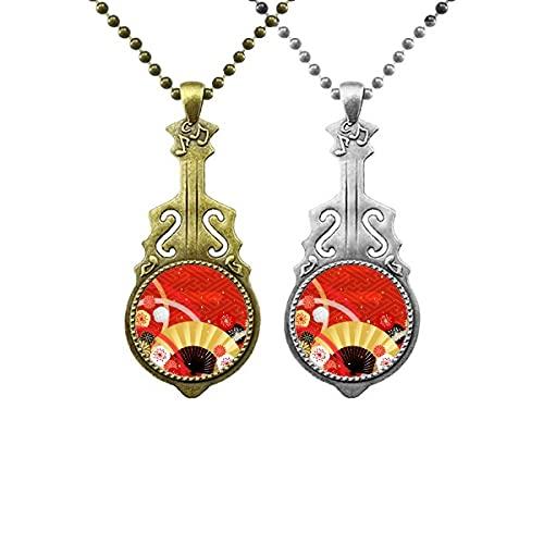 Falten von Lüfter Sakura Geometrie Muster Liebhaber Musik Gitarre Anhänger Schmuck Halskette Anhänger