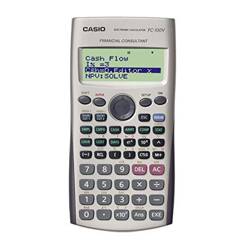 Casio FC-100V Bolsillo - Calculadora (Bolsillo, Calculadora financiera, 4 líneas, Flash, Batería, Gris)