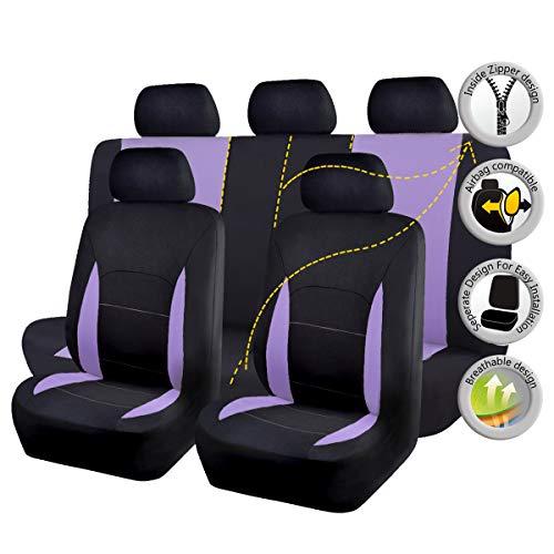 Flying Banner Sitzbezüge Auto Universal Set mit Airbag (Vollständige Reihe(11pcs), Lila und Schwarz)