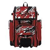 Boombah Catchers Superpack Hybrid Rolling Bat Bag - Hexfire Black/Red/White - Wheeled & Backpack Version