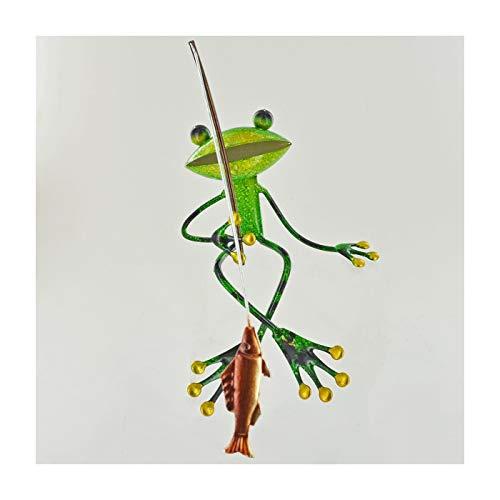 Fabulous Vert Grenouille de jardin en métal Pêche étagère assis Sculpture Ornement grenouilles