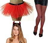 FashioN HuB Conjunto de accesorios para disfraz de diablo con tutú para mujer, talla única, 3 unidades