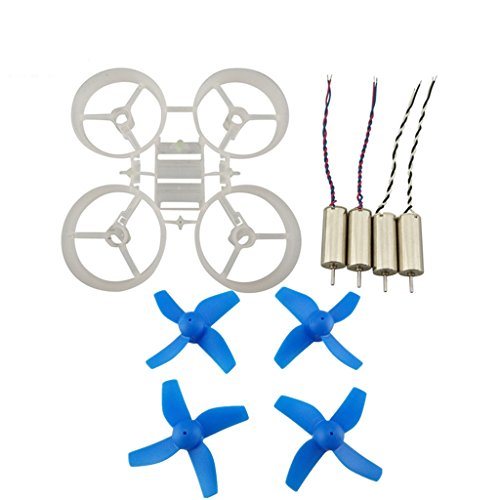 Upgraded Spare Parts Motors Propellers Props with Frame for JJRC H36 Tiny Whoop Eachine E010 Blade Inductrix Micro Drone Parts (White-Blue)