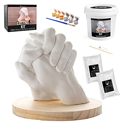 Complete Hand Casting Kit for Couples, DIY Kits for Adults, Casting Kit with Alginate Molding Powder - Wedding and Couple Gift - Hand Mold Kit Couples