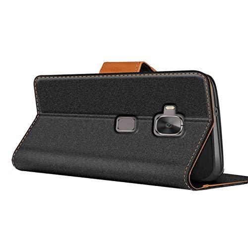 Huawei Nova Plus Hülle, Schutzhülle für Huawei Nova Plus Tasche Denim Textil Book Case Flip Case – Klapphülle Schwarz - 4