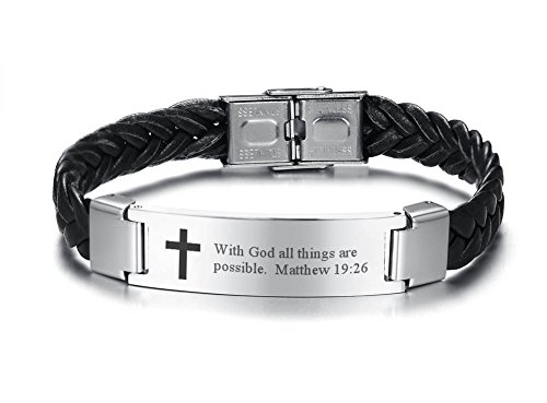 PJ jewellery with God All Things are Possible Matthew 19:26 Inspiring Men's Christian Bibe Verse Bracelet