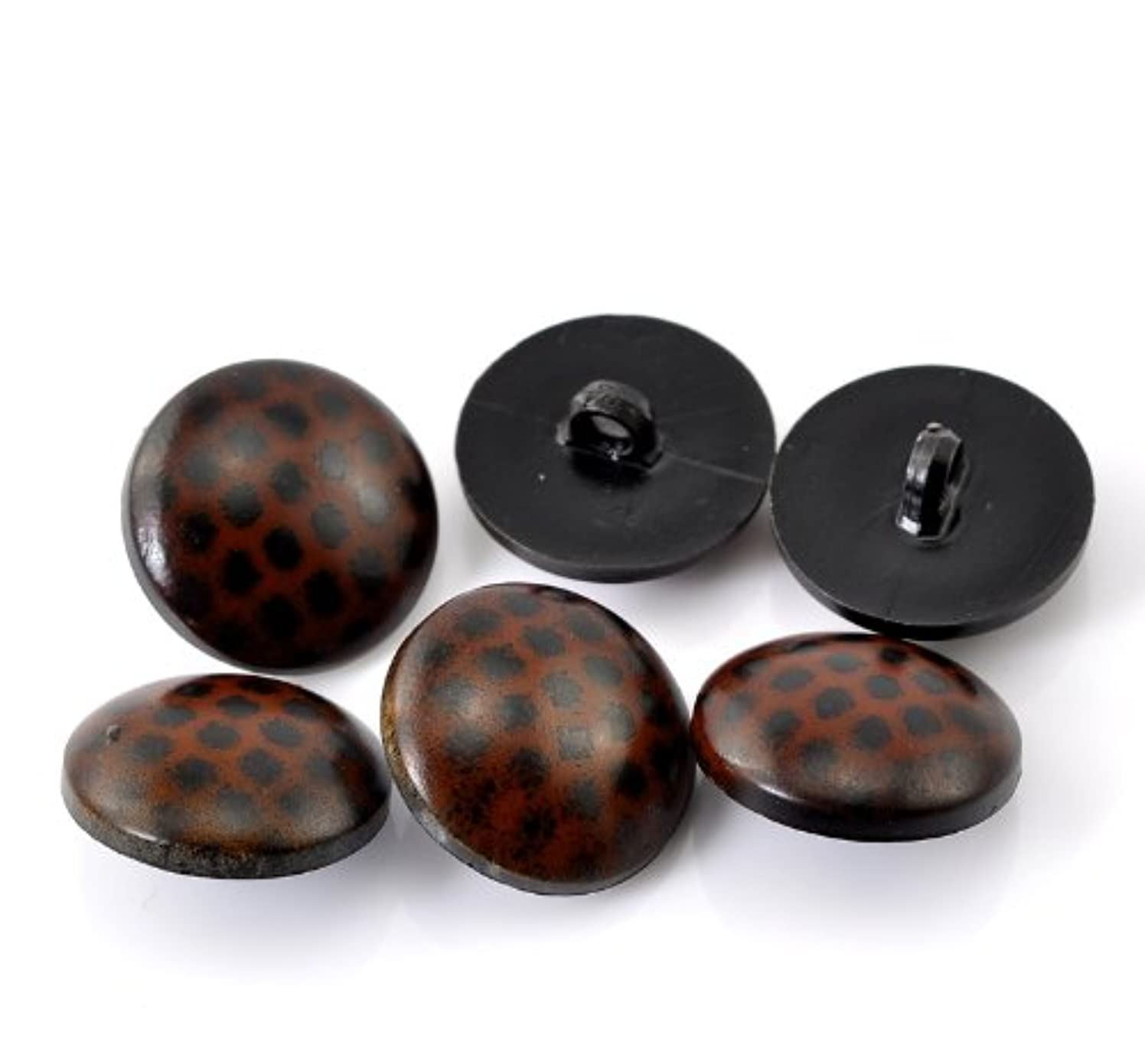 PEPPERLONELY Brand 50PC Brown Dots Resin Scrapbooking Sewing Buttons with Shank 22mm (7/8 Inch)