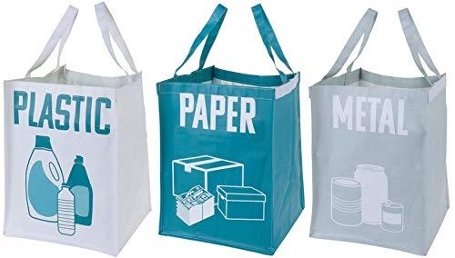 MIK Funshopping 3-teiliges Taschenset zur Mülltrennung, Müllsortierung, Recycling für Papier, Metall und Plastik