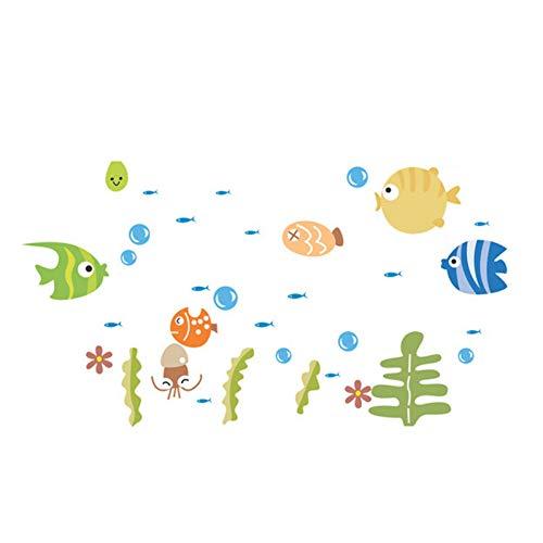 TAOZIAA Peces De Escupir Peces De Fondo Marino De Dibujos Animados Etiqueta De La Pared Habitaciones Para Niños Decoración Del Hogar Decoración Del Baño Pegatinas De Póster Calcomanías De Arte Mural