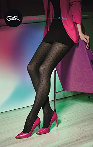 Gatta semi-ondoorzichtige panty met netpatroon 40den (35r-03) - panty met netpatroon geruit mat zwart visgraat - ontworpen & Made in EU
