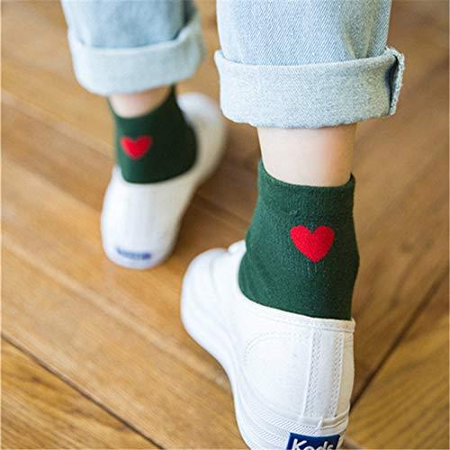 QYY Confortable à Porter 5 Paires de Coton en Forme de Coeur brodé Dame Chaussettes en Coton Chaussettes empilent (Blanc) (Couleur : Green, Taille : One Size)
