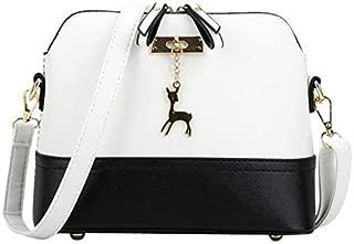 Fashion Single-Shoulder Bags Women Shoulder Bags Messenger Bag Leather Small Shell Bag Crossbody Bag Deer Spliced Collision Color Bag(Black) (Color : White)