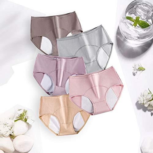 Xiaobing 5 unids/Pack Bragas menstruales Sexis a Prueba de Fugas para Mujer Bragas de algodón de Gran tamaño para Mujer -Multi 4-L-C1327