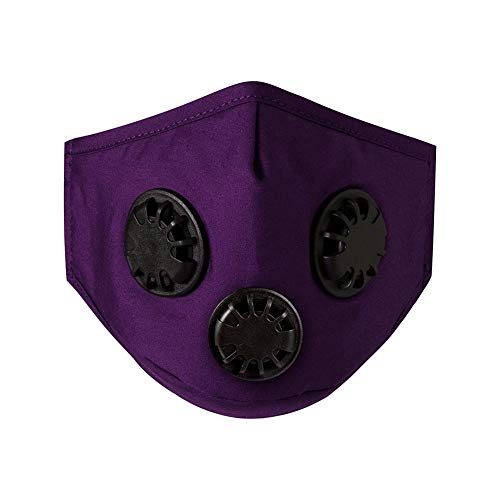 Washable Reusable Face Bandanas with Activated Carbon Filter, Outdoor Anti-Fog Face Protection Mouth Nose Facial Covering with Breathing Valve Filters for Adults Women Men (Purple, 3PC)