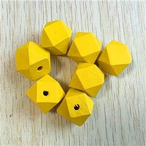 Calvas  Choose Color  Wholesale 20mm 100pcs/lot Environmental Paint Faceted Wooden Beads for Necklace or Bracelet Making -  Color  Yellow