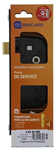 Bricard 2656 - Cerradura empotrable con Eje de 50 mm para Puerta de Dormitorio, Puerta Interior o de Servicio, Llaves de Seguridad, 4 gargantas, Color Negro