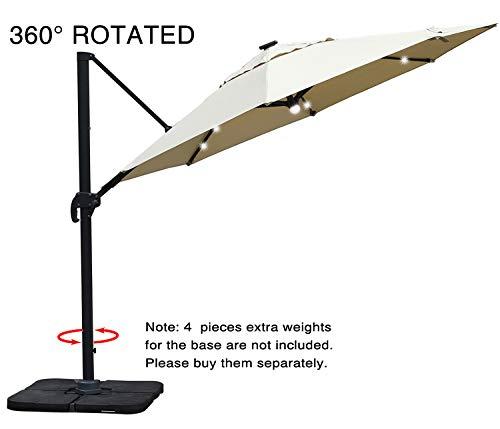 Mefo garden 10 by 10-Feet Classic Offset Patio Umbrella, 360° Rotated Cantilever Umbrella with Tilt...