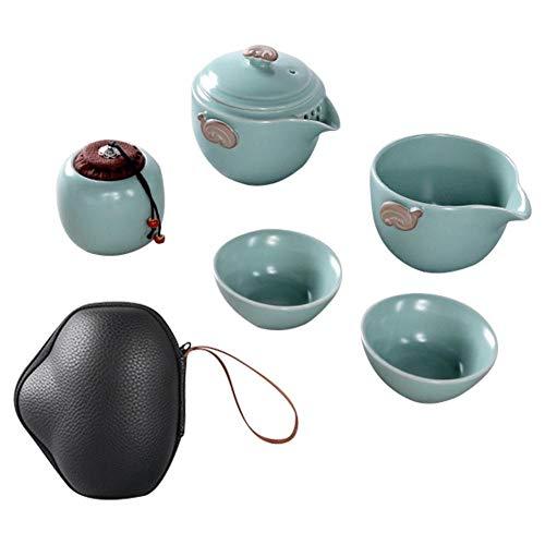 Luminiu Juego de té de viaje al aire libre, portátil, rápido, 1 maceta, 2 cuencos, 4 cuencos para regalo