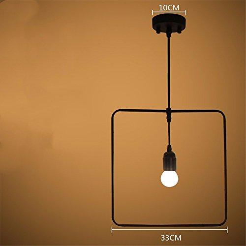 Lustres en fer nordique minimaliste moderne personnalité créatrice vent industriel lampes LED, rectangulaire