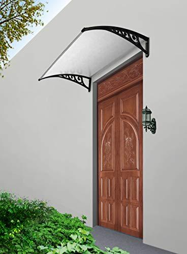 Defacto luifel 100x190cm deurdak voor buiten lessenboogluifel overkapping polycarbonaat transparant zwart