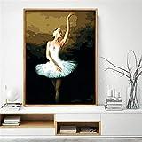 JXMK Pintura al óleo De Bricolaje Sin Marco Bailarina agraciadaPintura Digital para Adultos Regalo de Lienzo de Bricolaje para Adultos y niños 40x50cm