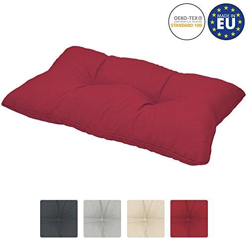 Beautissu Coussin Lounge pour Dossier - Idéal pour extérieur Jardin Balcon - Imperméable - XLuna - 50x40x12 cm - Rouge