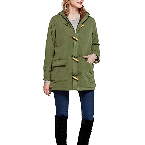 Fastbot women's Duffle Coat Toggle Coats Thick Winter Quilted Puffer Jacket Hooded Military Parka Warm Zip Button Army Green