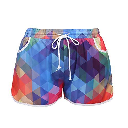 IN'VOLAND Damen Übergröße Laufshorts Sport Shorts Fitness Tanzen Yoga Shorts Sommer Gym Pants Gr. 22W, Pat 3