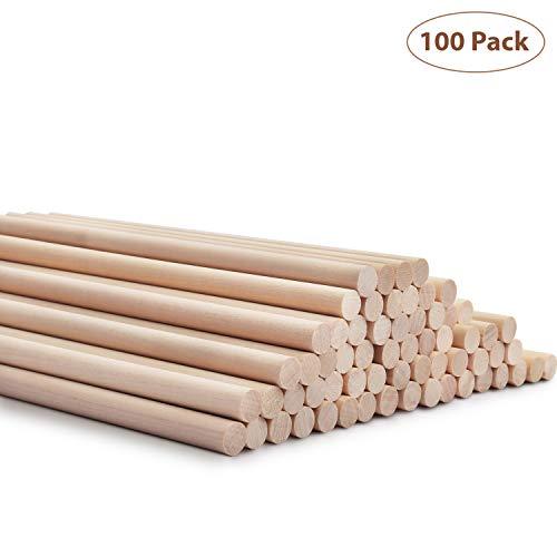BELLE VOUS Holzstäbe (100 STK) - 18cmx9,5mm Dübelstangen Holzdübel Naturholz - Holzstäbchen Rund zum Basteln für DIY Projekte – Deko Rundstäbe – Bastelstäbe für Kunst und Handwerks Projekte