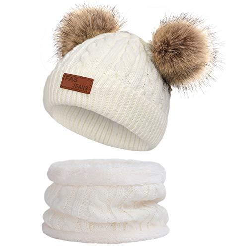 Simoda Kinder Wintermütze Schal Set gestrickte warme Ski Beanie Cap mit schönen Pompon(Weiß)