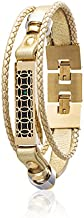 fitjewels Flex 2 Jewelry - Bracelet Hyde - Stainless Steel and Real Leather - Flex 2 Replacement Band - Available Colors Gold, Rose Gold, Black and Silver