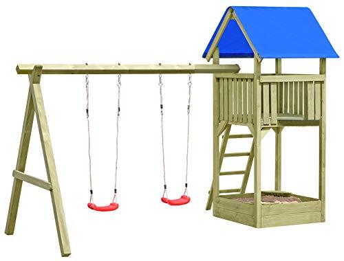 Gartenpirat Spielturm Premium M mit 2X Schaukel Sandkasten aus Holz TÜV-geprüft