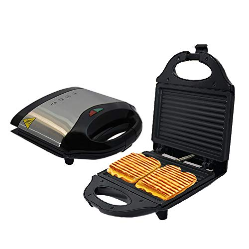 Best Deals! Home Breakfast Sandwich Maker with Striped Baking Tray, Panini Machine for Toast Bacon R...