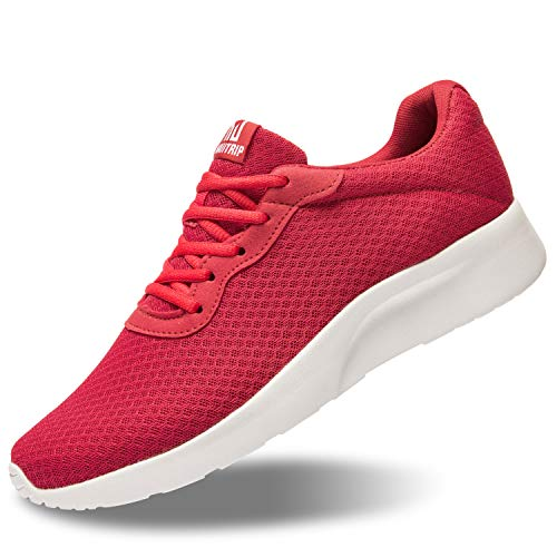 MATRIP Athletic Shoes Men Breathable Mesh Lightweight Comfortable Sole Sport Running Walking Jogging Tennis Stability Sneakers Male Cushion Lace up Gym Travel Minimalist Red Size 11