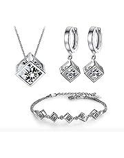 CRYSTALINA - Parure di gioielli in argento 925 da donna, set di collana orecchini e bracciale con zirconi, bella confezione regalo