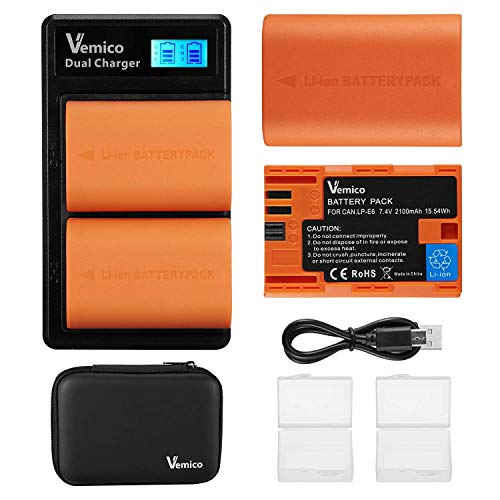 Vemico LP-E6 LP-E6N Batteria 2 X 2100mAh e Caricabatterie Doppio con Display LCD di Tipo-C per Canon EOS 5D Mark II/7D Mark II/III/IV/5DS/5DS R/6D/60D/6D Mark II/7D/70D/80D/90D/R Fotocamere Digitali
