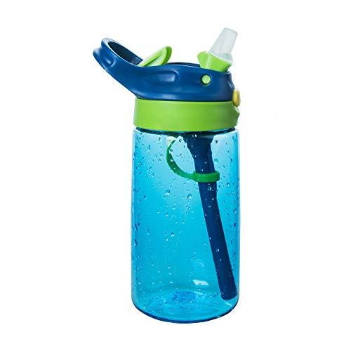 Louis Donnie - Botella de agua para niños con pajita a prueba de fugas, sin BPA, para niños y niñas
