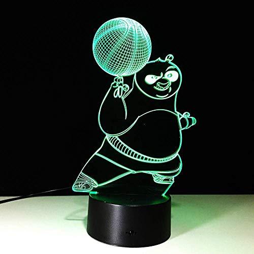MJY Kung Fu Panda-Serie 3D-Design Nachtlichter Bunter Farbverlauf Visuelle Stereo-Illusionslichter Visuelle Lichter Tischlampe Touch-Schalter Nachttischdekoration