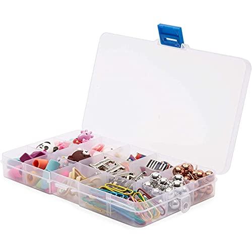 Boîte à bijoux transparente - Lot de 6 - Coffrets à Bijoux avec Rangements avec Séparateurs réglables, 15 Compartiments , 17 x 10,2 x 2 cm