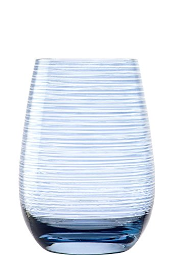 Stölzle Lausitz Twister Becher in blaugrau, 465 ml, 6er Set Gläser, spülmaschinenfest, Bunte Trinkbecher, hochwertige Qualität