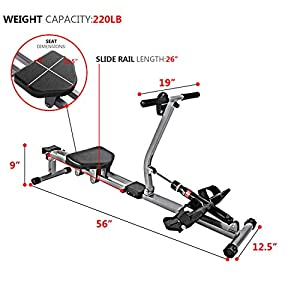 ZHCCCJBOY Rowing Machine Hydraulic Rowing Machine LCD Monitor Full Motion Rower with 12 Level Adjustable Resistance for Cardio Exercise Workout at Home Compact Easy to Install