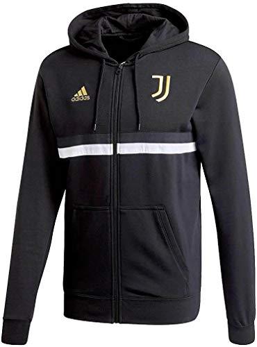adidas Juventus FC Temporada 2020/21 JUVE 3S FZ HD Chaqueta con Capucha, Unisex, Black/White/Pyrite, S
