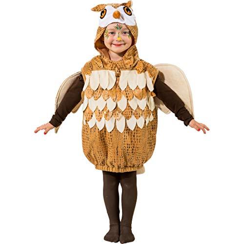 Cautivador set de disfraz de búho para niños y niñas | Marrón-Blanco en talla 99 - 104 cm, 3 - 4 años | Adorable disfraz infantil de lechuza | Especial para carnavales infantiles y festividades