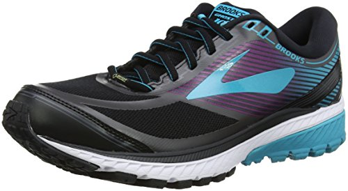 Brooks Women's Ghost 10 GTX Running Shoes, Black (Black/PeacockBlue/Hollyhock 1B089), 3.5-4